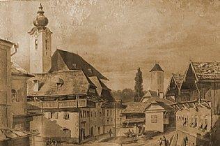 Die Kirche von Oberndorf zu Zeiten der Uraufführung von Stille Nacht © Stille Nacht Museum Oberndorf